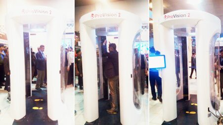 A sophisticated body scanner sits at Shah Amanat Airport